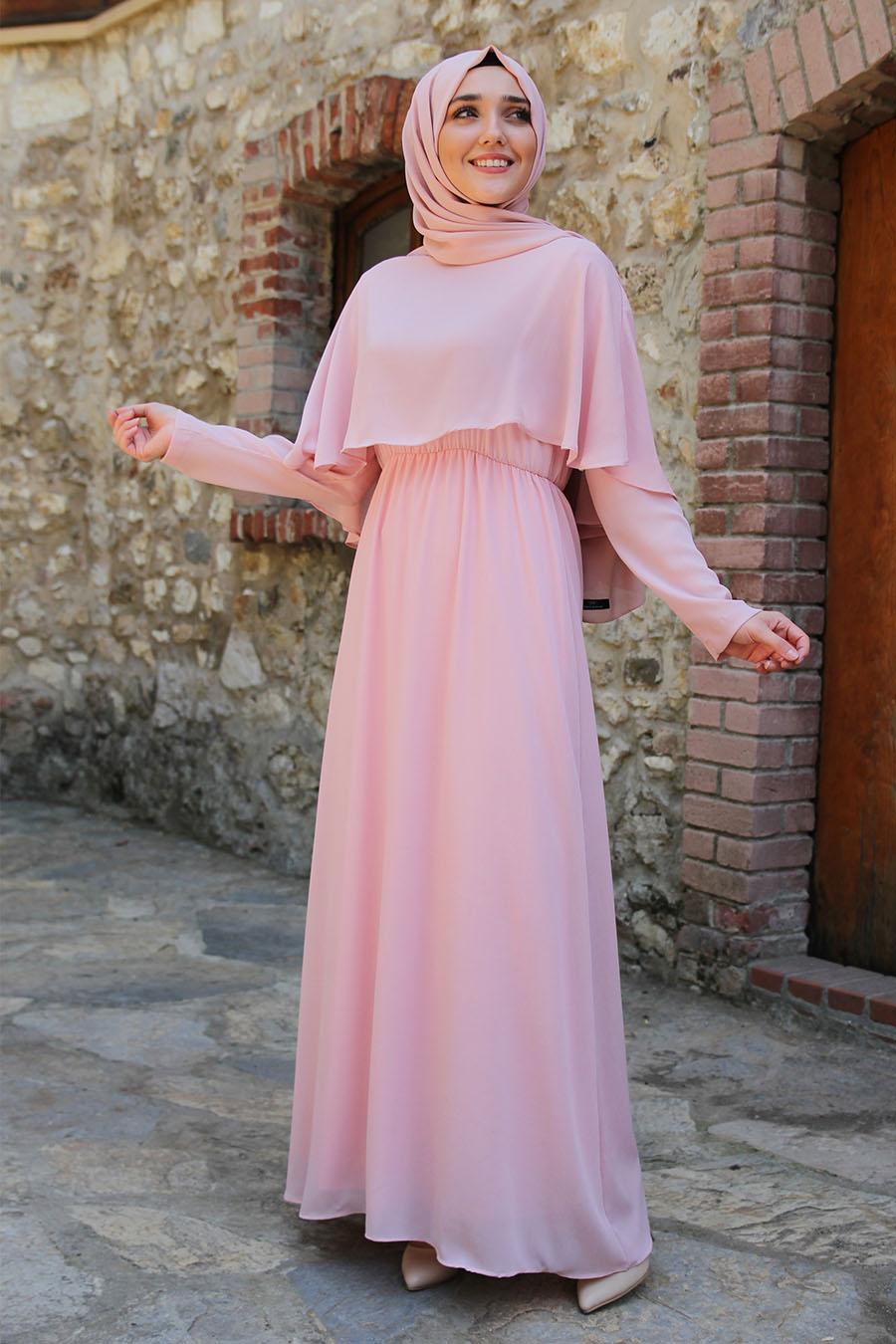 Yarim Pelerinli Tesettur Elbise Pudra