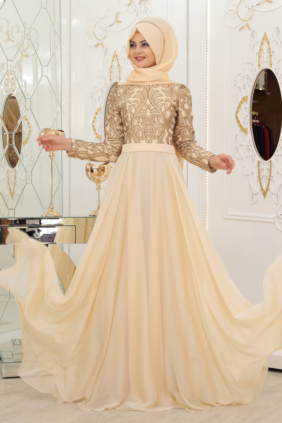 2570cd83d7402 Pınar Şems - Ecrin Abiye - Gold