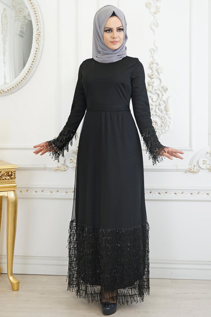 Neva Style Puskullu Bordo Tesettur Abiye Elbise 3547br
