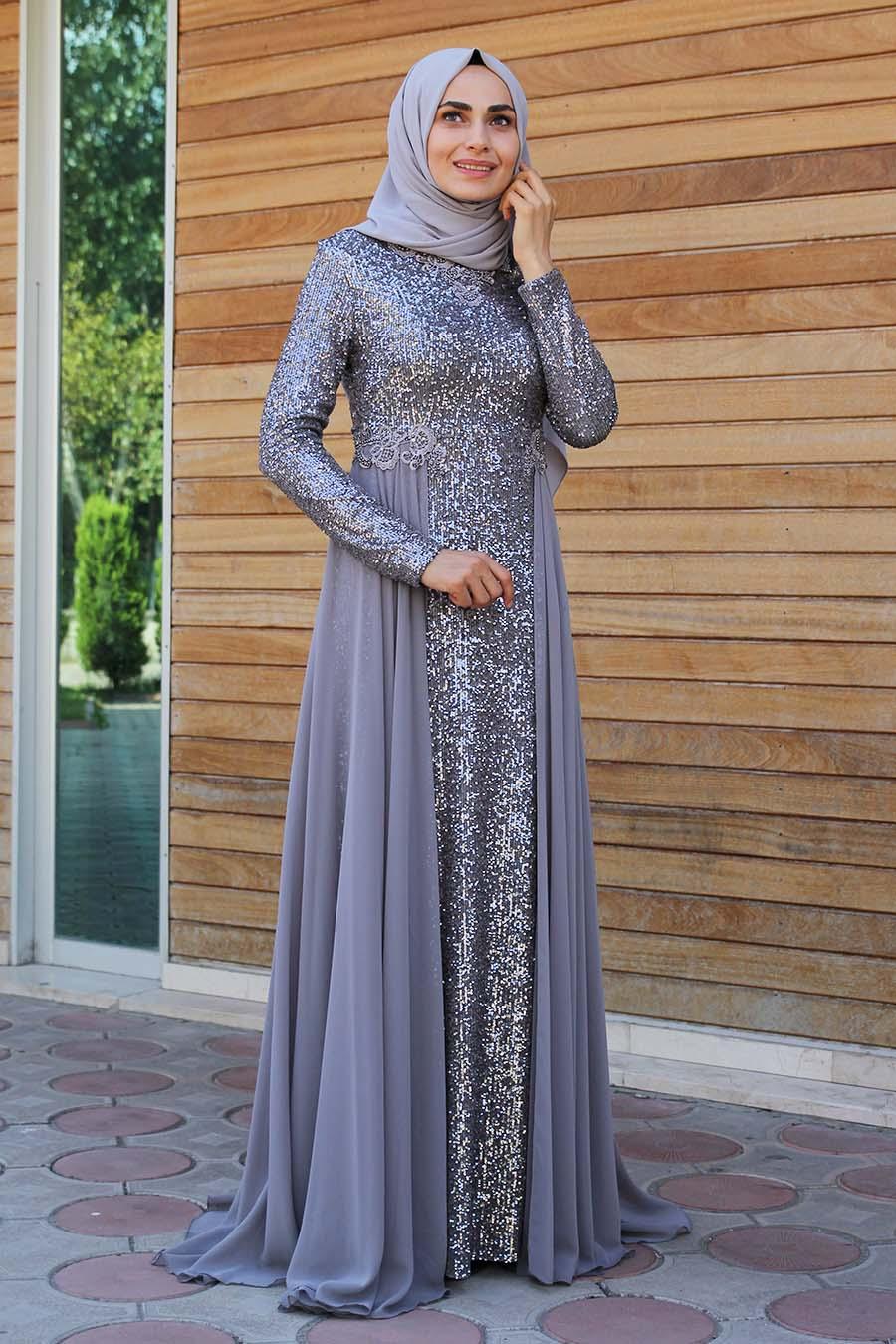 Payetli Tesettur Abiye Elbise Gri